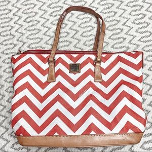Dooney & Bourke Orange and White Chevron Tote